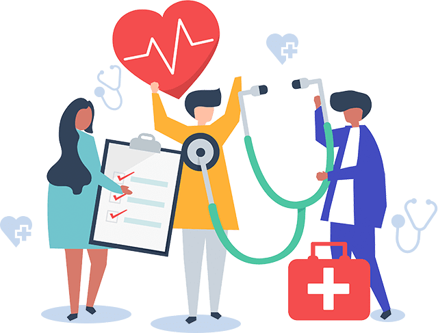 Medical stethoscope, heart and doctor
