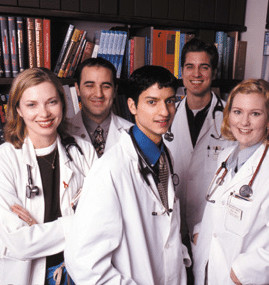 medical students in library